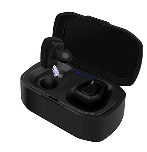 True Wireless Earbuds TWS Bluetooth Headphones [2019 Version] Mini Stereo HiFi Sound Bluetooth 5.0 IPX5 Water Resistant, 3D Stereo Sound, Wireless Earphones in-Ear Headset with Charging Case (Black)