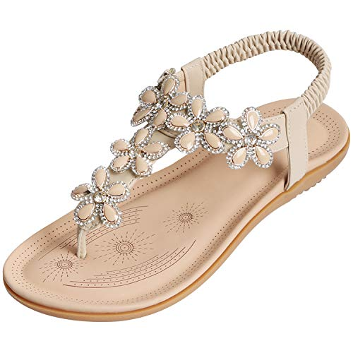 WESIDOM Women Flat Sandals,Rhinestone T-Strap Elastic Strap Rubber Sole Shoes for Summer(Apricot US 10)