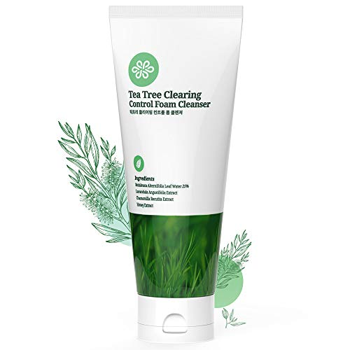 LovLuv Tea Tree Foaming Facial Cleanser, K Beauty Daily Face Wash with Anti Aging Properties [6 Oz]