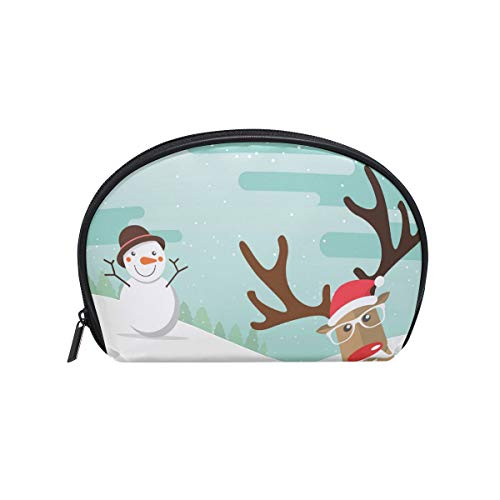 (Senya Travel Cosmetic Bag Small Makeup Portable Carry Case Pouch Girls Women Personalized Organizer Tote Bag For Jewelry Toiletries Christmas Reindeer Red Nose Snowman Winter)