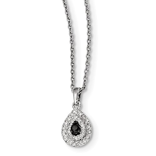 ing Silver Black White Diamond Tear Drop Pendant Chain Necklace Charm Fine Jewelry Ideal Gifts For Women Gift Set From Heart (Diamond Teardrop Pendant Chain)
