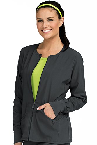 (Med Couture Stretch Zip Front Warm Up Scrub Jacket Women, Pewter, X-Large)