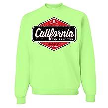 California Paradise Found Crewneck Sweatshirt - Neon Green Medium