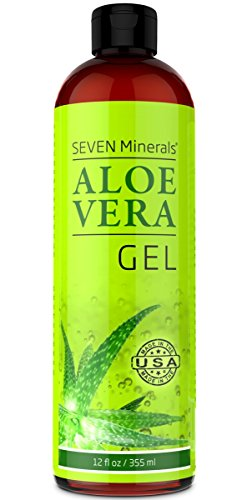 Organic Aloe Vera Gel with 100% Pure Aloe from FRESHLY CUT Aloe Plant, not powder - NO XANTHAN, so it absorbs rapidly with No sticky residue - Big 12 oz from Seven Minerals