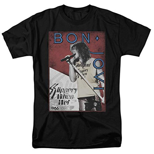 Bon Jovi 1986 Slippery When Wet Tour T Shirt & Exclusive Stickers (Medium) -