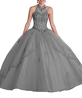 Ladsen High Neck Backless Tulle Ball Gown Halter Quinceanera Prom Dress Grey US12 Size
