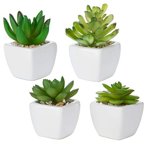 MyGift Set of 4 Decorative Mini Artificial Succulents/Plastic Synthetic Plants with White Ceramic Planter Pots