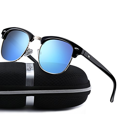 - Sunglasses for Men Women Retro Semi-Rimless Polarized Sun Glasses WP1006 (blue/black)