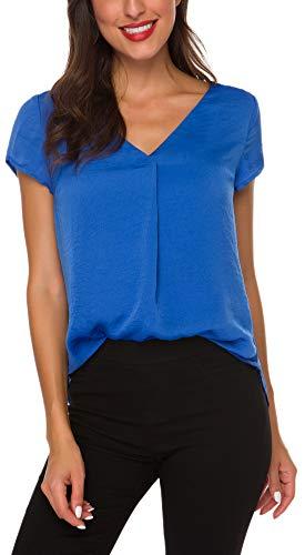 ACONIYA Womens Short Sleeve Blouse Casual Office Work V Neck Chiffon Shirt Elegant Vintage Loose fit Tunic Tops,Blue S