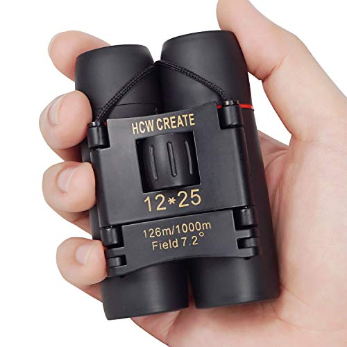 HCW CREATE 12×25 Mini Folded Binocular for Opera,Climbing,Traveling,Bird Watching,Hunting,Sightseeing fit for Adult and Kid(0.37lb)