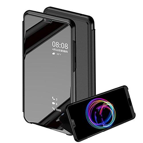 TaiY Ultra Delgado Translúcido Espejo con Función Kickstand Flip Funda Carcasa Case + Cristal Templado para Huawei P20 Lite...