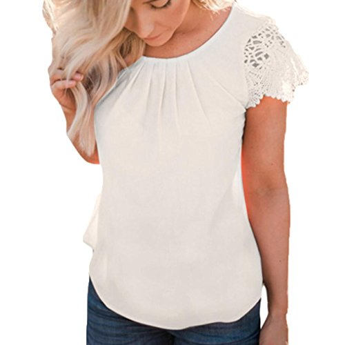 vermers Hot Sale Women Lace Tops Summer Casual Solid Insert Ruffle Cap Sleeve Front Pleated T Shirts Blouse(L, White) - Hot Womens Cap Sleeve T-shirt