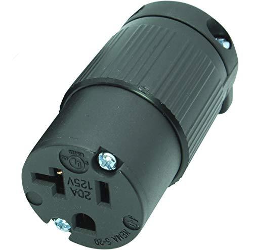 Journeyman-Pro 520CV 20 Amp 120-125 Volt, NEMA 5-20R, 2Pole 3Wire, Straight Blade, Female Plug Replacement Cord Connector Outlet, Commercial Grade PVC (BLACK 1-PACK) ()
