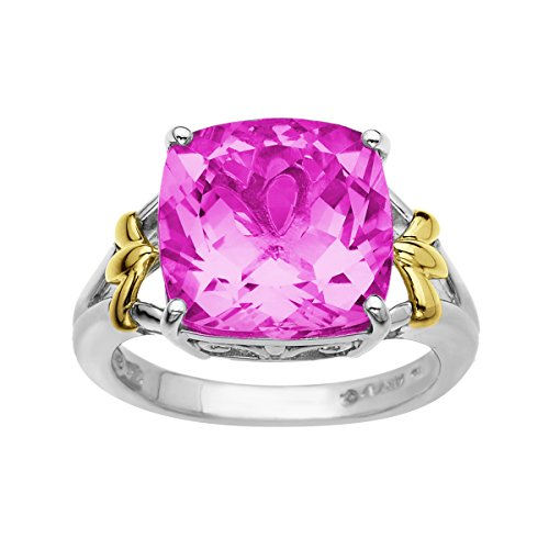 9 12 ct Pink Sapphire Ring in 10K Gold and Sterling Silver Size 7