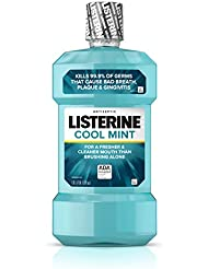 Listerine Cool Mint Antiseptic Mouthwash for Bad Breath, Plaque and Gingivitis, 33.8 Fl Oz