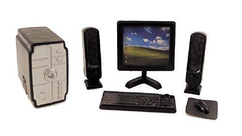 Melody Jane Dolls Houses PC Desktop Computer Set Modern Office Accessory Black