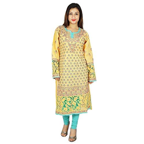 Étnica Kurti diseñador indio Chikan bordado Kurta mujeres vestido casual Amarillo y magenta
