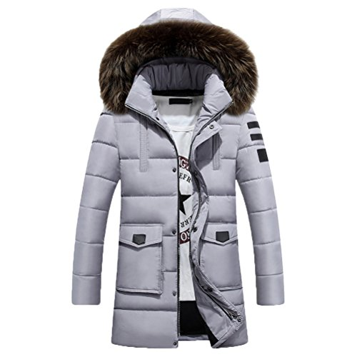 Plus Long Gray Mens Coats Zhuhaitf Winter Hooded Outerwear Jackets Down Thicken qY1xawx