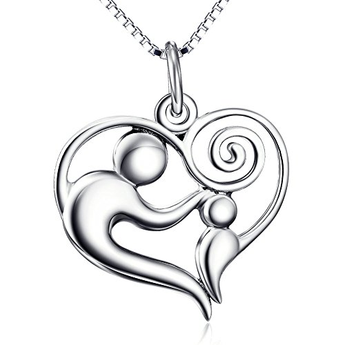 [YFN Sterling Silver Parent and Child Infinity Love Heart Charm Pendant Necklace 18