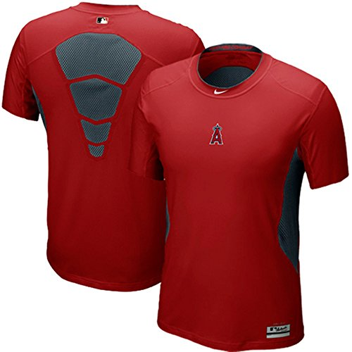 Nike Los Angeles Angels Anaheim MLB Pro Combat Hypercool DriFit AC Fitted TShirt (Red, 3XL)
