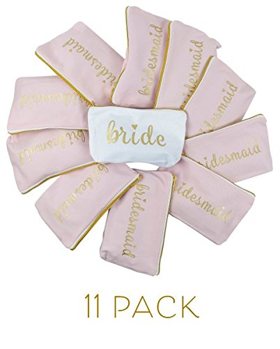 11 Piece Set of Pink Bridesmaid and Bride Canvas Makeup Bags for Bachelorette Parties, Weddings and Bridal Showers!