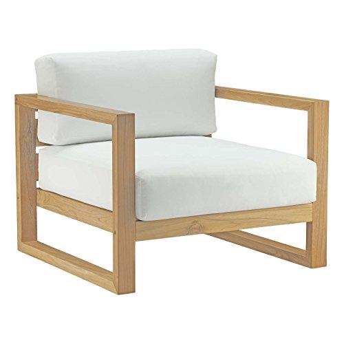 Modway EEI-2706-NAT-WHI Upland Outdoor Patio Teak Armchair, Natural White