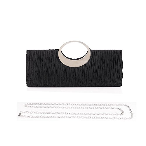 Emour Lady Sateen Pleated Prom Party Wedding Clutch Purse handbag embellished with Rhinestone Ring Mom's Day Gifts(Black)