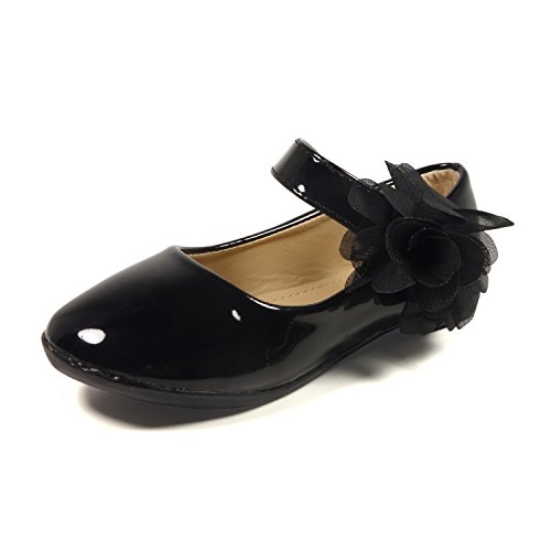 Little Girls Dress Ballet Mary Jane Bow Flat Shoes,NF Utopia Girl NFGF061New Black 13 (Girls Mary Jane Shoes)