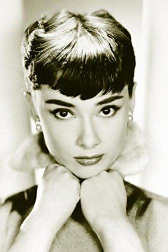 Audrey Hepburn Sepia Face Portrait Vintage Photo Poster 24x36 inch