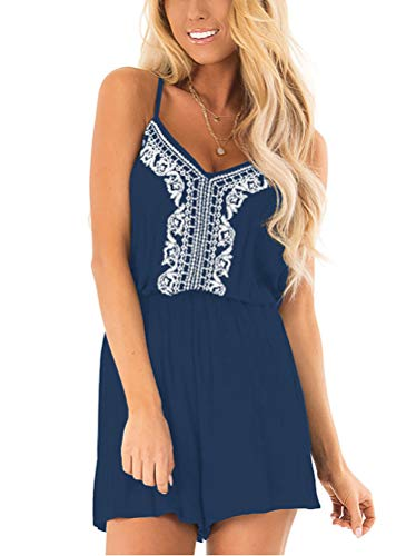 - LACOZY Womens Summer Casual Embroidered V Neck Spaghetti Strap Short Jumpsuit Rompers Navy Blue X-Large