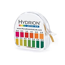 Hydrion S/r Dispenser 0.0-6.0 Ph Range 96 - 15 Ft Roll w/ Color Chart/ Dispenser 96 Ph range 0-6.0 , 15 ft roll with color chart and dispeneser Offers clear bright single color matches at every .5 interval from pH 0.0-6.0.