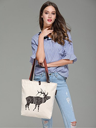 So'each Women's Fawn Geometry Graphic Canvas Handbag Tote Shoulder Bag