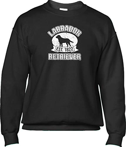 Blittzen Mens Sweatshirt Est 1822 Labrador Retriever, XL, Black