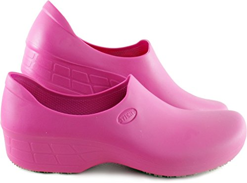 - STICKY Comfortable Work Shoes for Women - Waterproof Slip Resistant - StickyPRO Shoes (10.5, Pink)