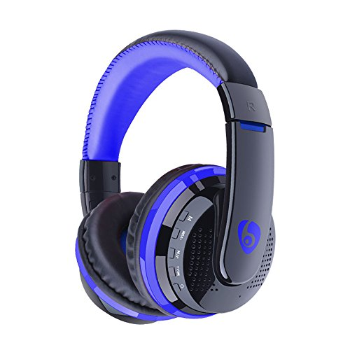 Jinqian Bluetooth Headset 2.1, headphone-in-ear Hi-Fi stereo wireless headset with microphone for sweat-proof multi-point connection (blue)