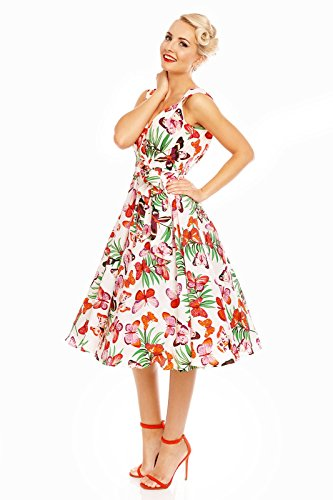 imprim Orange Papillon Looking FTE vas Glam Vintage 1950 annes Rockabilly rtro Robe PPFqzw8