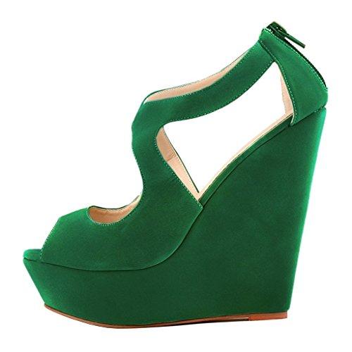- Arc-en-Ciel007 Women's Shoes Wedge High Heel Zip Peep Toe Heeled Platform Sandals-Green-6