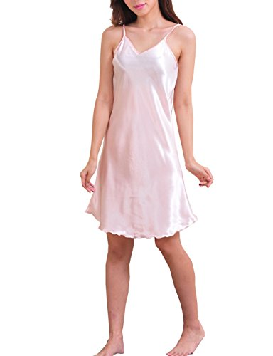 SexyTown Women's Satin Camisole Nightgown Classic Chemise Slip Sleepwear (Large, Pink)