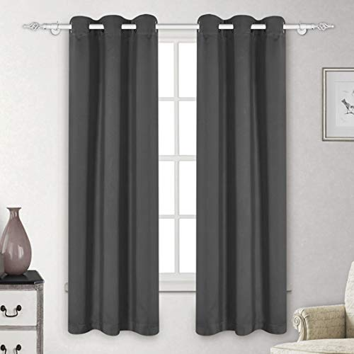 (LUXUER Set of 2 Curtain Panels Set Dark Gray Blackout Thermal Insulated Darkening Grommet Drapes Solid (42x84 Inch, Dark Grey) Window Treatment Home Decor)