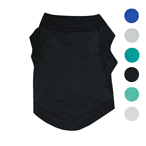 Alroman Dogs Shirts Black Vest Clothing for Dogs Cats Medium Dog Vacation Shirt Male Dog Clothing Puppy Summer Clothes Boy Cotton Summer Shirt Small Dog Cat Pet Clothes Vest T-Shirt Apparel