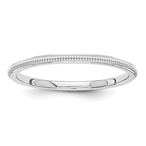 (14k White Gold 1.5mm Milgrain Wedding Ring Band Size 6.00 Stackable Classic Fine Jewelry Gifts For Women For Her)