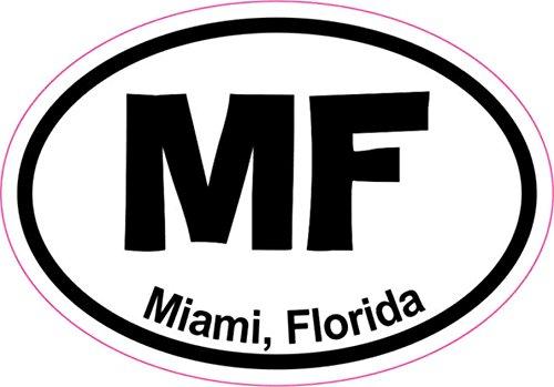 3in x 2in Oval MF Miami Sticker Vinyl Florida City Vehicle Bumper Stickers