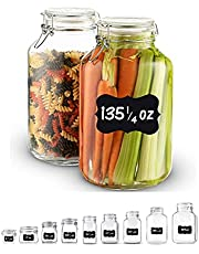 Bormioli Rocco Glass Fido Jars - 135¼ Ounce (4 Liter) with hermetically Sealed hinged Airtight lid for Fermenting, Preserving, Bulk - dry Food Storage, With Paksh Novelty Chalkboard Label Set (2 Pack)