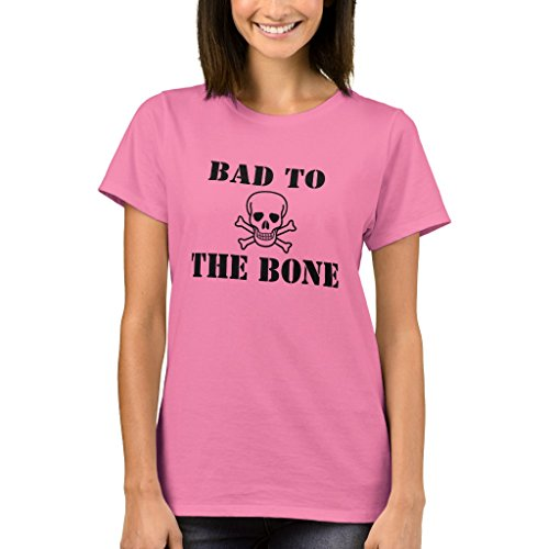 Zazzle Women's Basic T-Shirt, Bad to The Bone T-Shirt, Pink ()