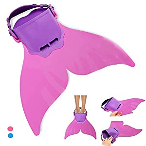 Well-Being-Matters 41056E0ISSL._SS300_ AIWANK Adjustable Mermaid Swim Flippers Fin for Swimming Training Girl,Kid Monofin