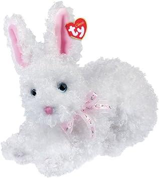 Ty Presto - Conejo de peluche de pelo rizado, color blanco