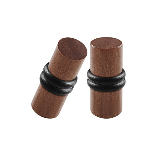 BIG GAUGES Pair Teak Wood 4gauges 5 mm Double Flared Piercing Jewelry Ear Stretching Lobe Solid Plug O-Rings Tunnel Earring BG0957 (Double Wood O-ring Plugs)