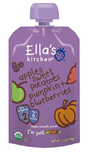 Price comparison product image Ella's Kitchen Organic Stage 2, Apples Sweet Potatoes Pumpkin + Blueberries, 3.5 Ounce (Pack of 6)