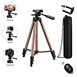 Eocean Tripod, 50-inch Video Tripod for Cellphone with iOS and Andriod System, Universal Tripod for Gopro and Camera with Wireless Remote, Compatible with iPhone Xs/Xr/X/8/8 PlusGalaxy Note 9/S9/Huawei/Google