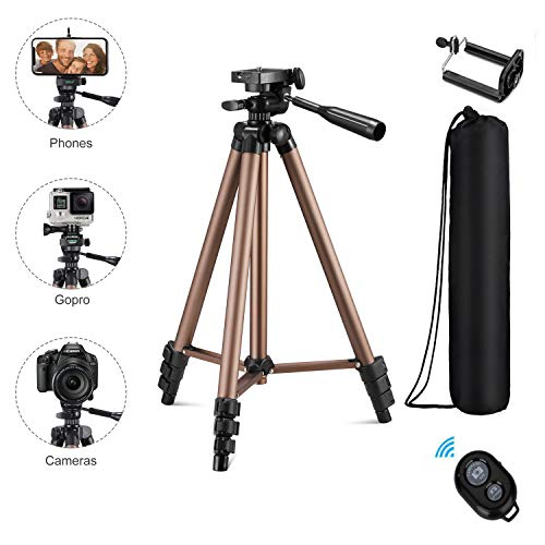 Eocean Tripod, 50-inch Video Tripod for Cellphone with iOS Andriod System, Universal Tripod for Gopro and Camera with Wireless Remote, Compatible with iPhone Xs/Xr/Xs MaX/X/8/Galaxy Note 9/S9/Google